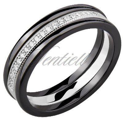 Dwa czarne pierścionki ceramiczne i pierścionek srebrny z cyrkoniami - czarny