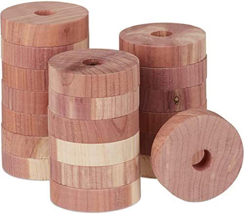 Relaxdays ochrona przed molami z drewna cedrowego, 20 pierścieni do szafy na ubrania, długi czas, naturalny środek przeciw molom, średnica: 4 cm, kolor naturalny