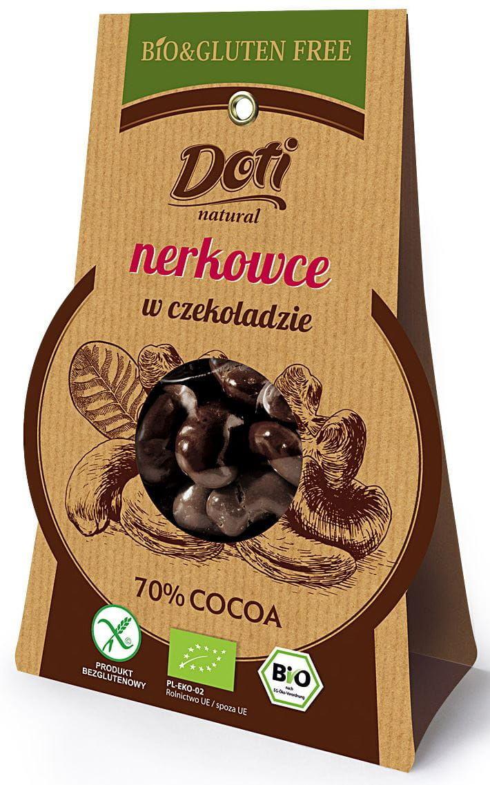 Orzechy nerkowca w czekoladzie gorzkiej bezglutenowe bio 50 g - doti