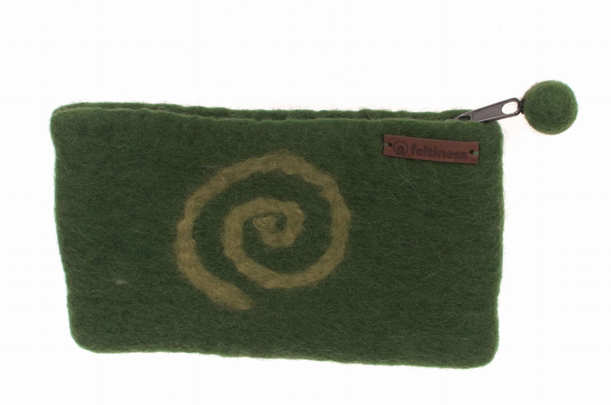 Portfel, piórnik filcowy Zielony