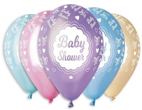 """Balony Premium 12"""" """"Baby Shower"""" metaliczne, 5 szt."""