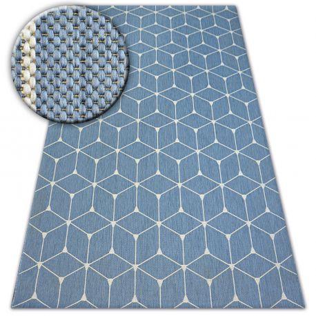 Dywan SZNURKOWY SIZAL FLAT 48721/591 KOSTKI 3D niebieski 80x150 cm