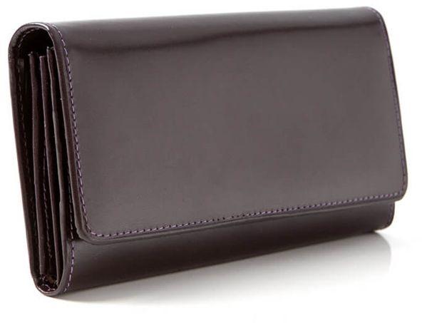 Duży portfel damski skórzany śliwkowy BW59
