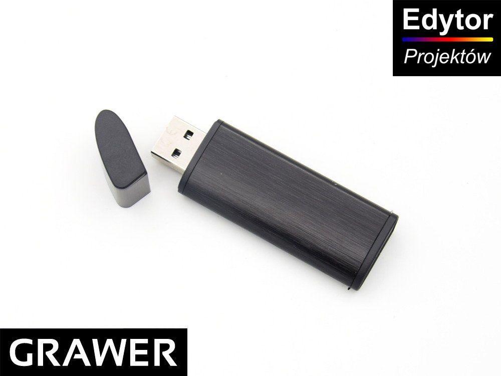 Pendrive czarno-czarny 64 GB Pamięć USB prezent z Grawerem