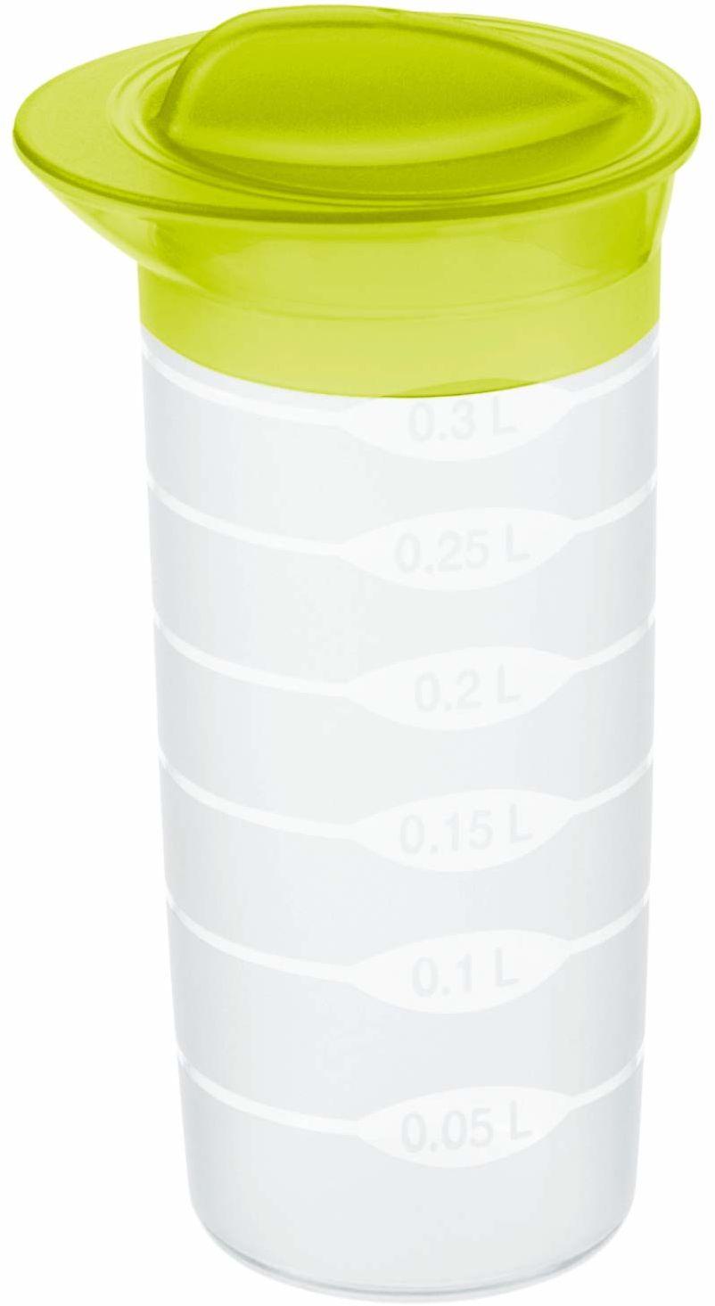 Rotho Shaker shaker 0,3 l z pokrywką i skalą, tworzywo sztuczne (PP), nie zawiera BPA, przezroczysty/zielona, 0,3 l (8,0 x 8,0 x 16,0 cm)
