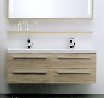 Szafka łazienkowa pod umywalkę podwójną KANSAS jabłoń / wenge Made in Italy