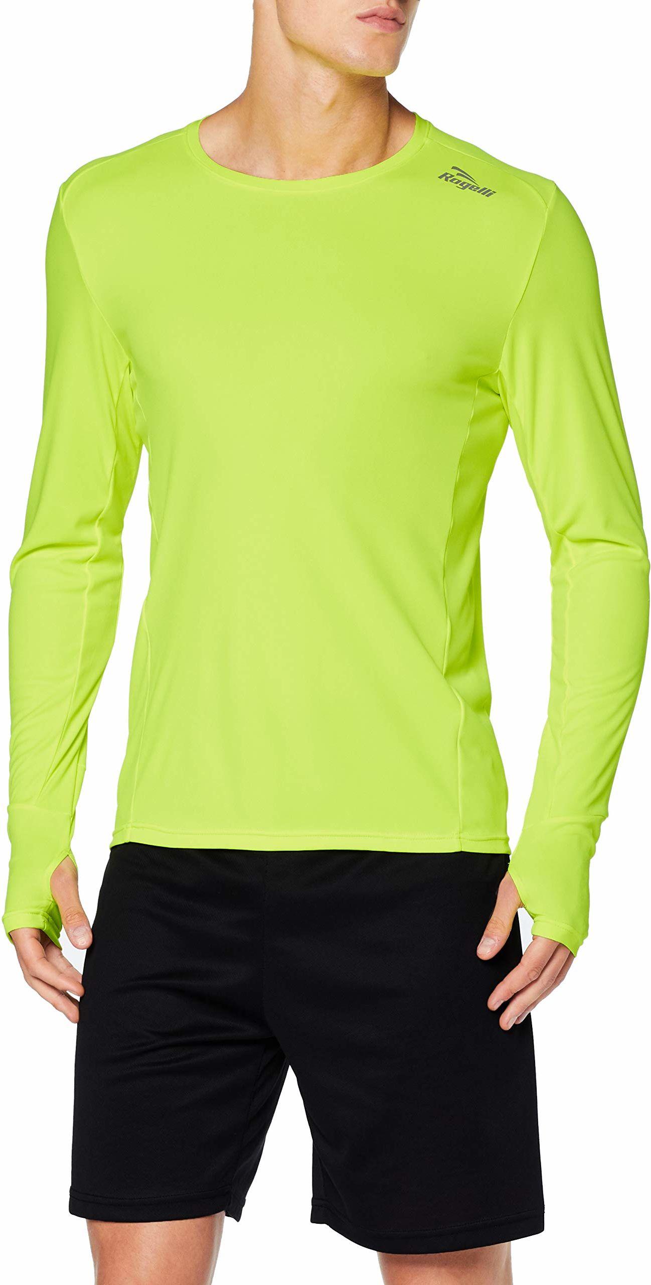 Rogelli Męska koszulka do biegania z długim rękawem, fluorescencyjna, rozmiar 2XL