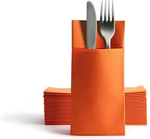 Alvotex CHIC Airlaid 50 serwetki na sztućce, torby na sztućce, podobne do materiału, wysokiej jakości serwetki jednorazowe, 39 x 40 cm, pomarańczowe