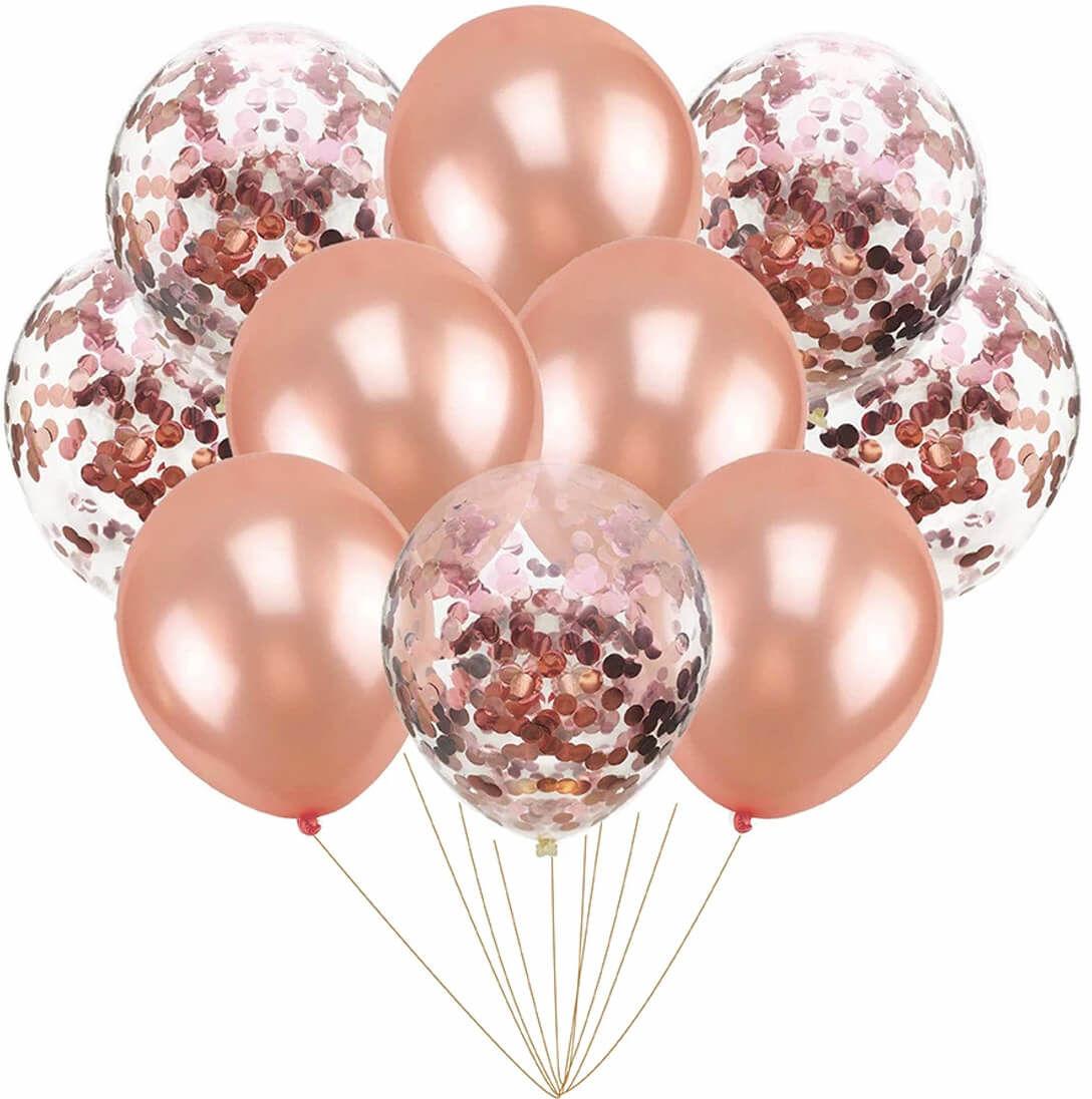 Zestaw balonów różowe złoto - 30 cm - 10 szt.