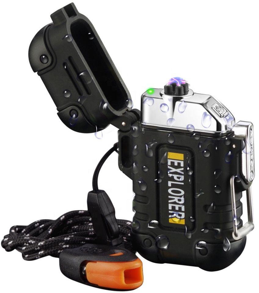ZAPALNICZKA ELEKTRYCZNA SURVIVAL WODOODPORNA CZARNY USB DK F17