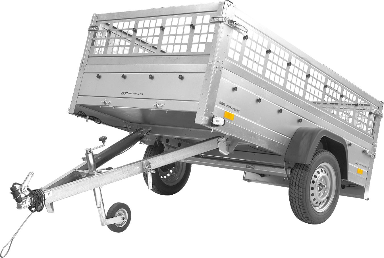Przyczepa Unitrailer GARDEN TRAILER 201 KIPP (NEW) z kołem podporowym i burtami siatkowymi
