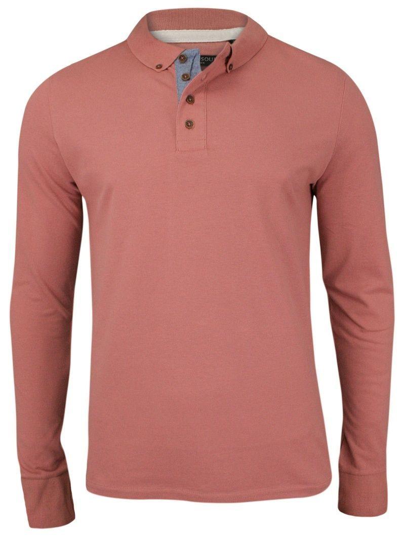 Bladoróżowa Koszulka Polo - Długi Rękaw, Longsleeve z Kołnierzykiem - Brave Soul, Męski TSBRSSS18LINCOLNwinterpink