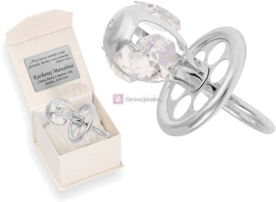 Srebrny smoczek Swarovski w pudełku z grawerem - Prezent