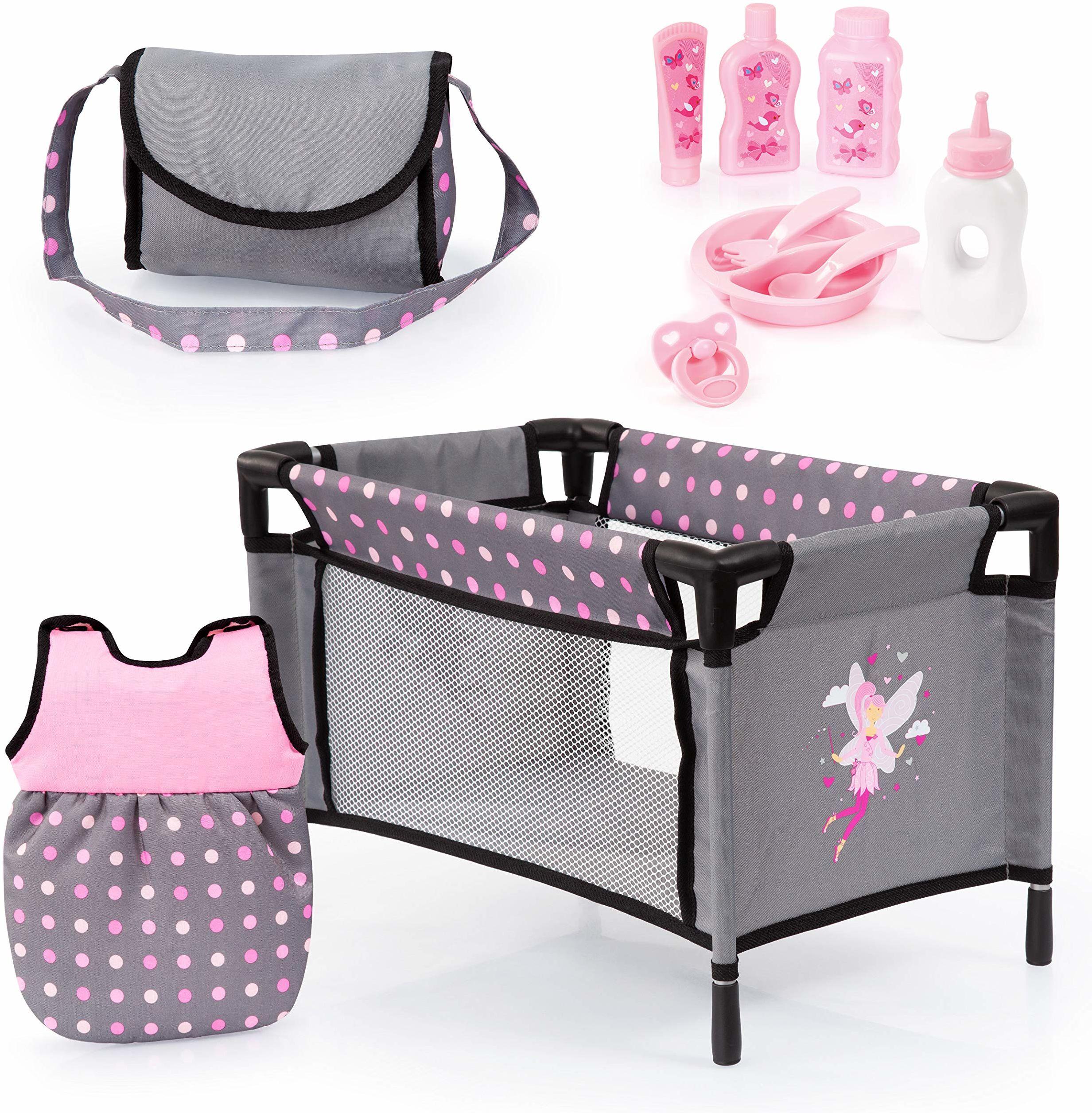 Bayer Design 61766AB akcesoria dla lalek, 11 w 1, duży zestaw akcesoriów do lalek niemowlęcych, w zestawie torba, łóżeczko podróżne, śpiwór i akcesoria do pielęgnacji, szary, różowy, w kropki