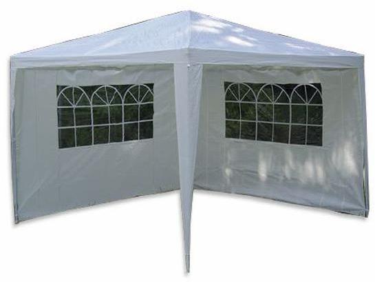 Pawilon ogrodowy 3 x 3 m biały + 2 ścianki boczne z oknami
