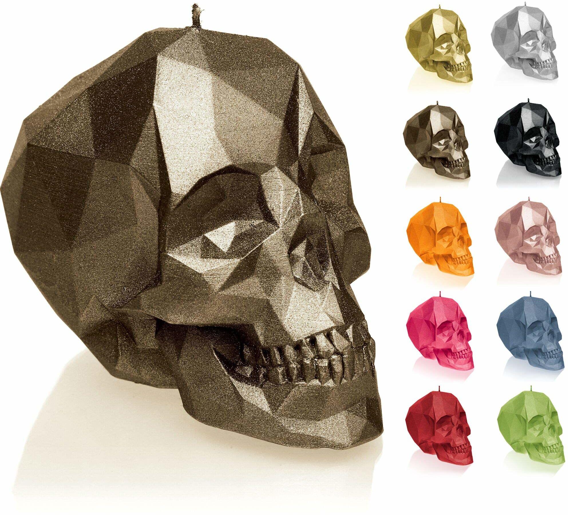 Candellana Świeca mała czaszka Low Poly wysokość: 7,5 cm mosiądz trupia czaszka wykonana ręcznie w UE 5903104883355, mosiądz, 7,5 x 10 x 6,5 cm