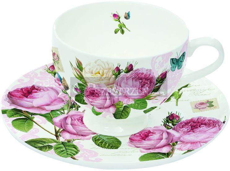 KOMPLET: 2 PORCELANOWE FILIŻANKI DO ESPRESSO - Romantic Roses (328 RMR)