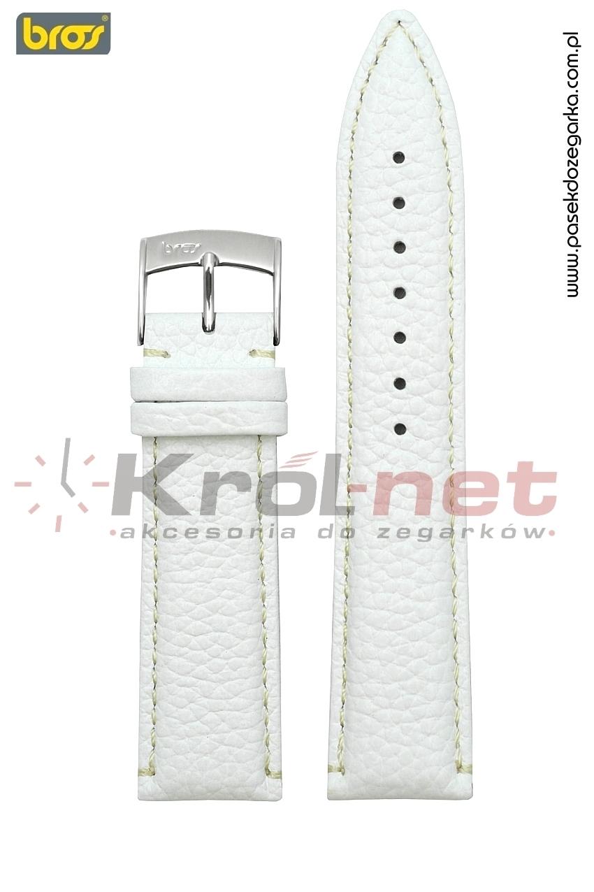 Pasek Bros 9374/90/18 - biały, beżowe nici