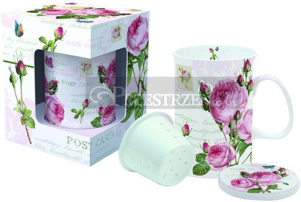 PORCELANOWY KUBEK Z ZAPARZACZEM - Romatnic Roses (316 RMR)
