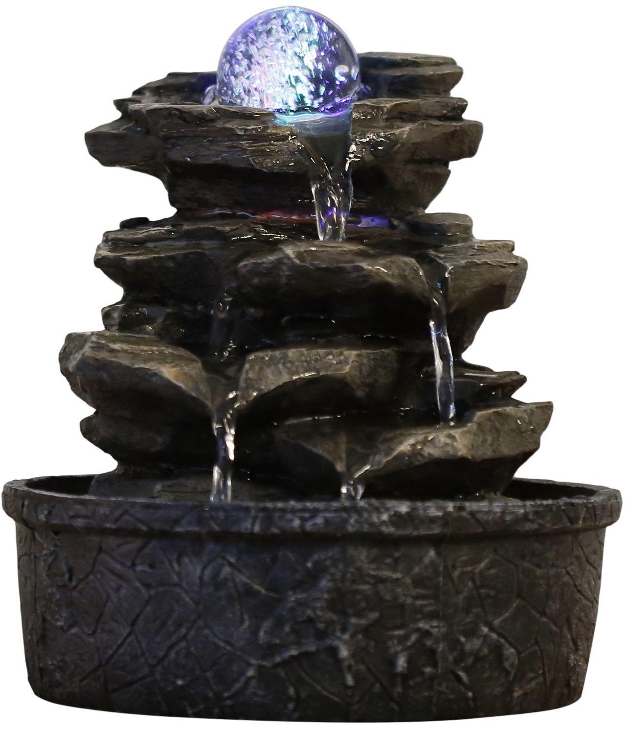 Zen ''Light Little Rock Fontanna z Żywicy Poliestrowej, Ciemnobrązowy, 20 x 20 x 23 cm