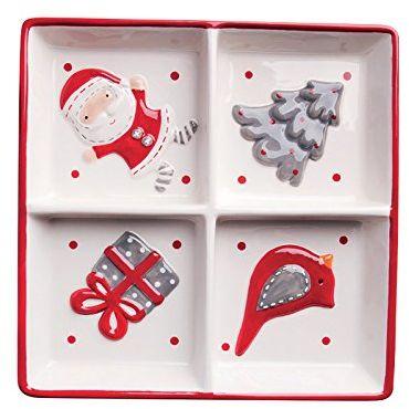 Merry Christmas Antipasti miseczka Xmas biała/czerwona