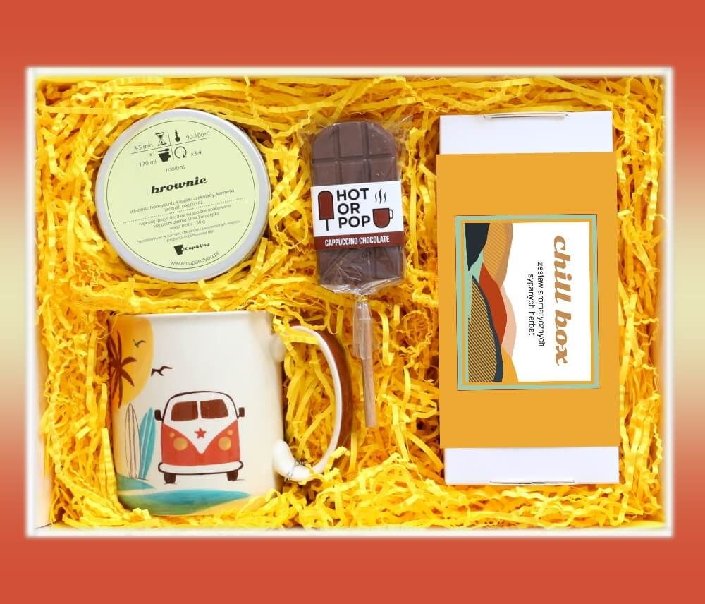 Zestaw prezentowy na wyjątkową okazję ChillBox ZACHÓD SŁOŃCA. Zestaw 20 herbat różnego rodzaju i smaku 20x 5/8g, honeybush Brownie 150g, uroczy kubek i czekoladowy lizak