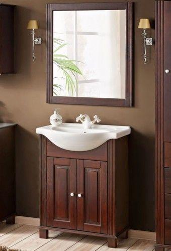Szafka z umywalką RETRO ciemne drewno - 85 cm
