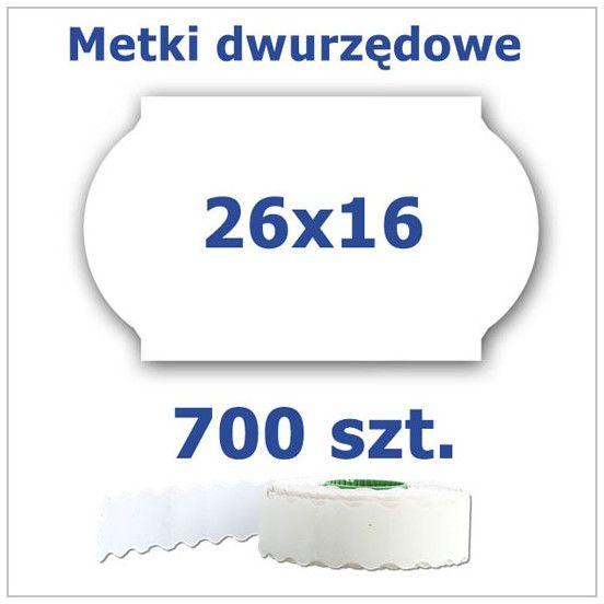 Metki dwurzędowe 26x16 białe, fala 3500szt
