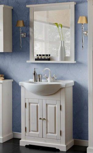 Szafka z umywalką ROMANTIC białe drewno - 65 cm
