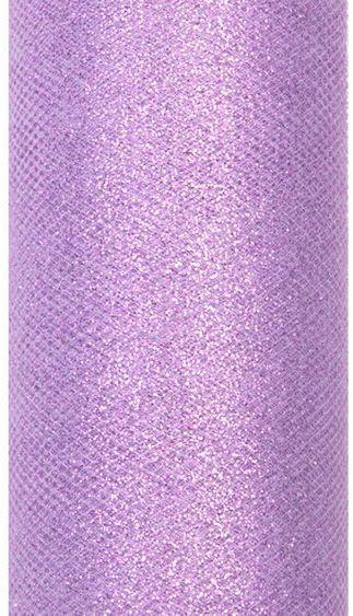 Tiul dekoracyjny glittery 15cm rolka 9m j. fioletowy brokat TIUG15-002