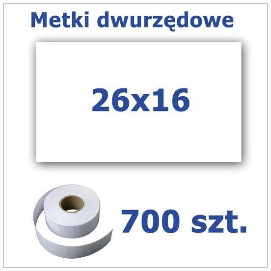 Metki dwurzędowe 26x16 białe, prostokątne 3500szt