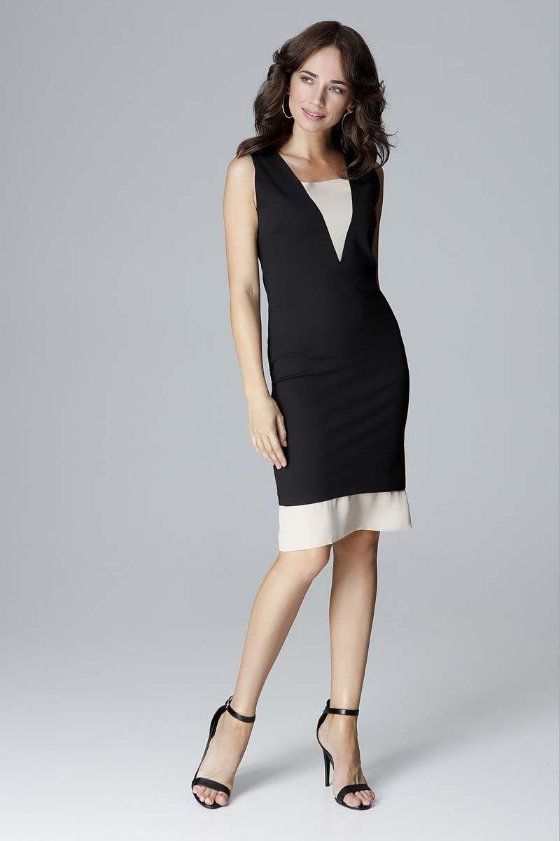 Czarna dopasowana sukienka bez rękawów z tiulem