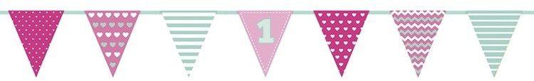 Girlanda flagi na Roczek dla dziewczynki 135cm 1szt FLG2R