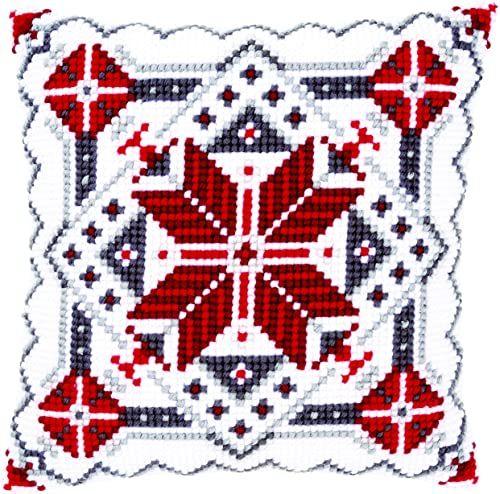 Vervaco Poduszka z haftem krzyżykowym Śnieg Kryształ II
