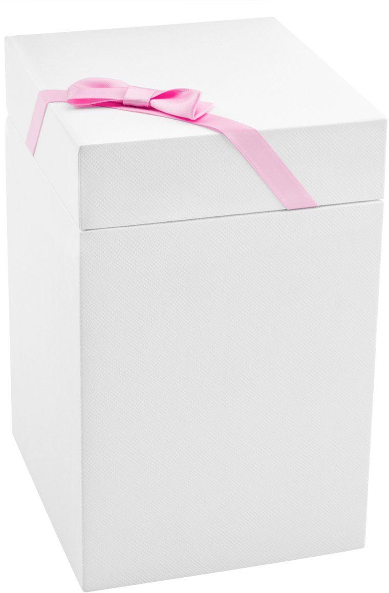 Pudełko prezentowe białe 10x10x17 z różową tasiemką