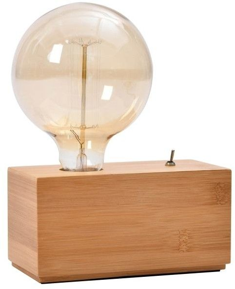 Lampa stołowa GoodHome Qausuit Bamb E27 prostokątna