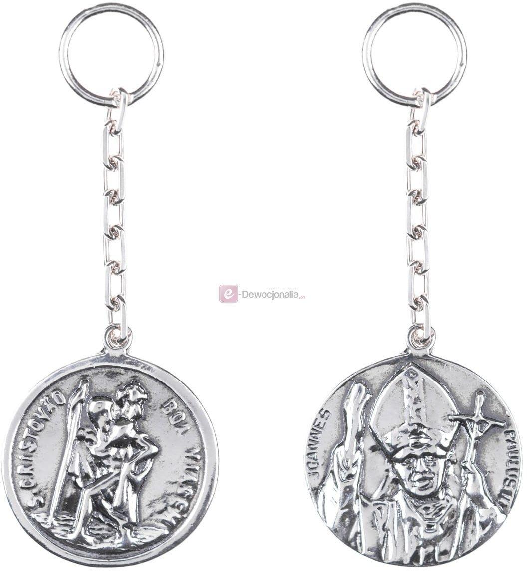 Brelok srebrny, pr.925 Święty Krzysztof / Jan Paweł II - 5,6gr