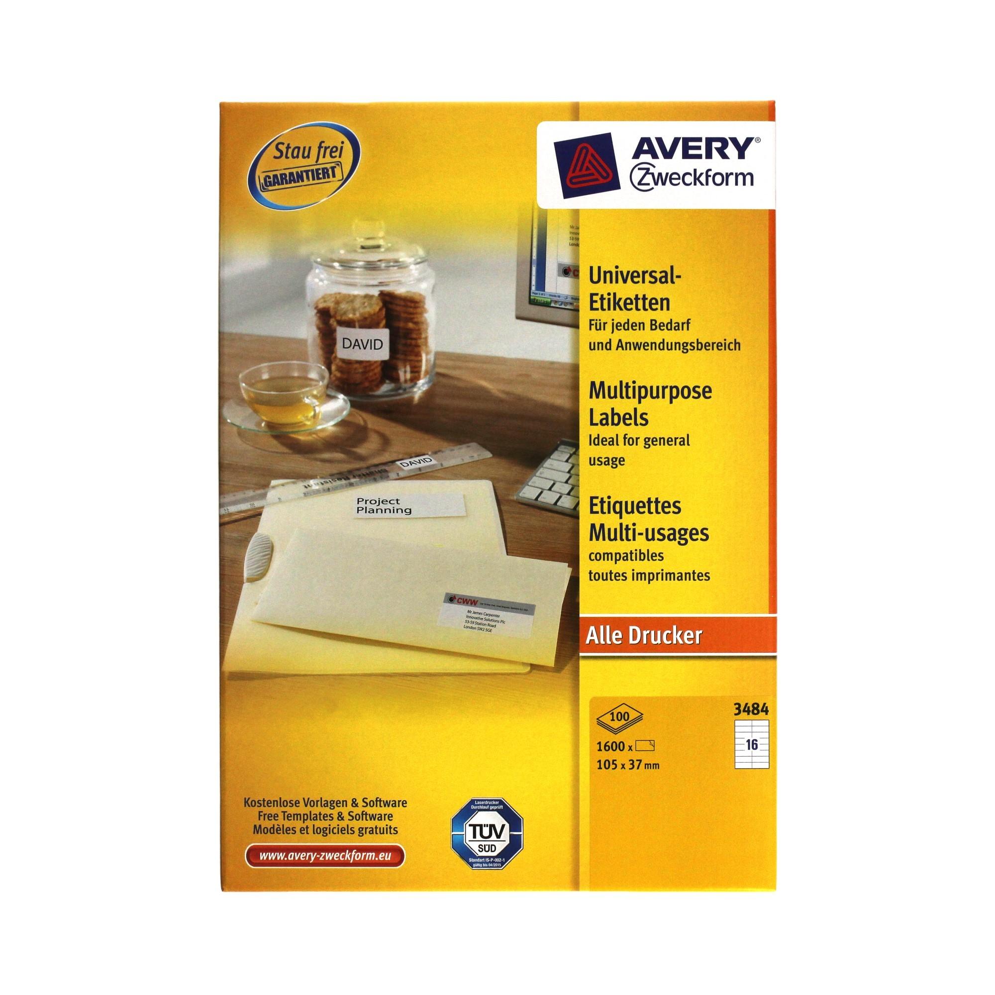 Etykiety uniwersalne 105x37/16 białe Zweckform 3484 (100)