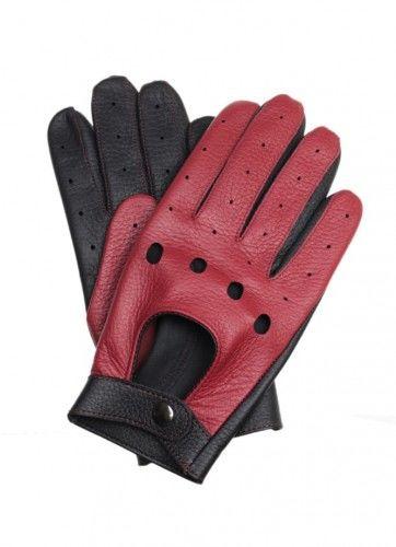 Męskie rękawiczki samochodowe - skóra z jelenia - czerwono-czarne