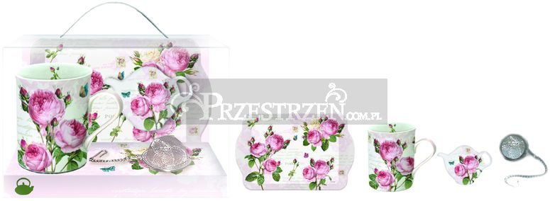 KOMPLET: KUBEK PORCELANOWY, PODSTAWKA I TACKA - Róże - Romantic Roses (306 RMR)