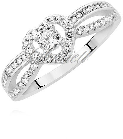 Srebrny pierścionek pr.925 serduszko z białymi cyrkoniami