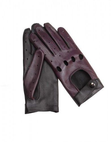 Damskie rękawiczki samochodowe, całuski - bordowo czarne