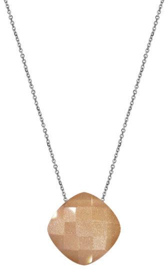 Srebrny naszyjnik 925 poduszka kamień księżycowy