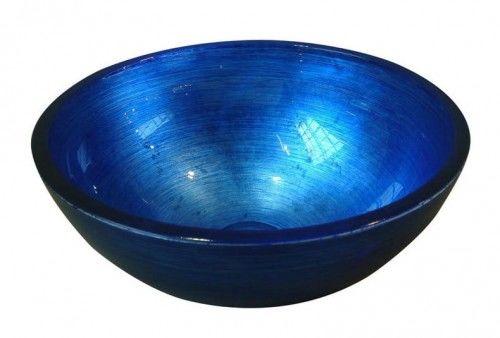 Umywalka szklana 40x14cm -Szkło Weneckie z MURANO Hand Made / NIEBIESKA
