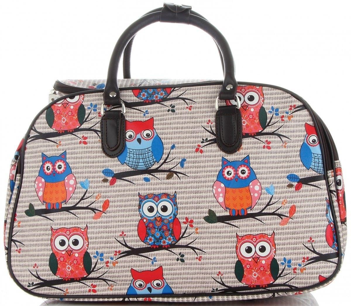 Modne Duże torby podróżne kuferki w sowy włoskiej marki Or&Mi Multikolorowe Beżowe (kolory)