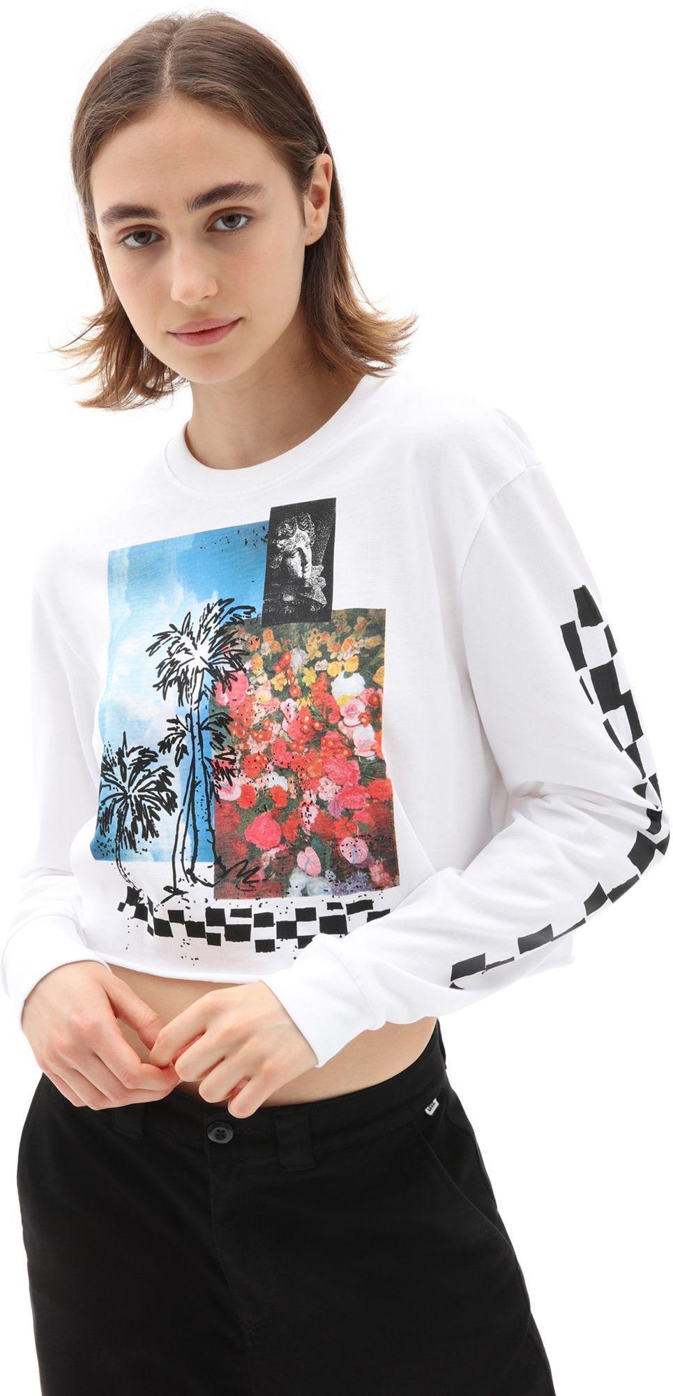 t-shirt damski VANS SEARCH PARTY LS TEE White