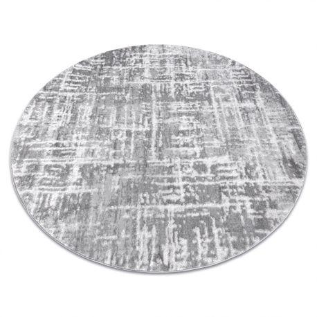 Dywan MEFE nowoczesny Koło 8722 Linie vintage przecierany - Strukturalny, dwa poziomy runa szary / biały koło 100 cm