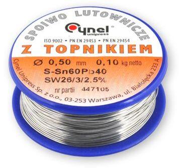 Spoiwo CYNEL Sn60Pb40 drut lutowniczy 0,5mm 0,1kg Topnik F-SW26 2,5%