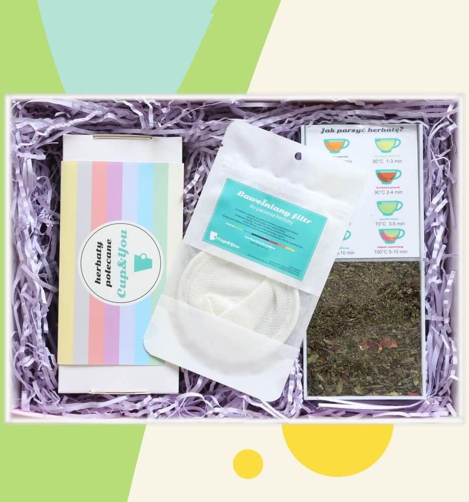 Zestaw prezentowy na wyjątkową okazję TeaBox BESTSELLERS. Zestaw 20 herbat różnego rodzaju i smaku 20x 5/8g, elegancki dyspenser na saszetki i bawełniany filtr do herbaty