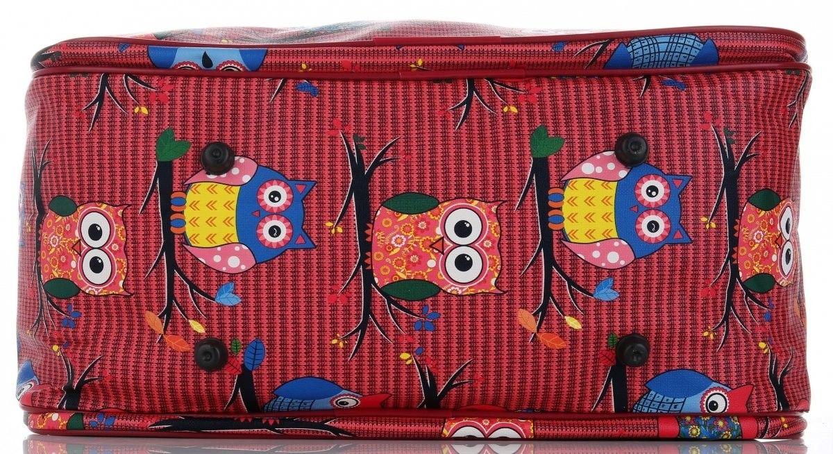 Modne Duże torby podróżne kuferki w sowy włoskiej marki Or&Mi Multikolorowe Czerwone (kolory)